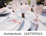 banquet wedding table stands in ... | Shutterstock . vector #1247559313