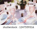 banquet wedding table stands in ... | Shutterstock . vector #1247559316