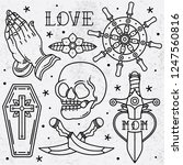 set flash tattoo old school ... | Shutterstock .eps vector #1247560816