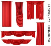 red curtains set isolated on... | Shutterstock .eps vector #1247565769