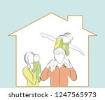 children with parents are... | Shutterstock .eps vector #1247565973
