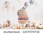 Stock photo candy bar with balls macaroon on candy bar candy bar on holiday candy bar at the wedding 1247574733