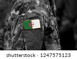 flag of algeria on soldiers arm ...   Shutterstock . vector #1247575123