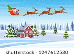 a house in a snowy christmas... | Shutterstock .eps vector #1247612530