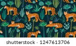 tiger pattern with tropical... | Shutterstock .eps vector #1247613706