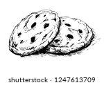 chocolate chip cookies.sketch... | Shutterstock .eps vector #1247613709