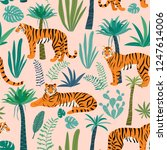 tiger pattern with tropical...   Shutterstock .eps vector #1247614006