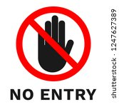 no entry sign. sticker with... | Shutterstock .eps vector #1247627389