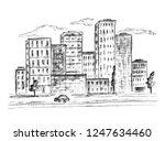 black   white ink and pen... | Shutterstock . vector #1247634460