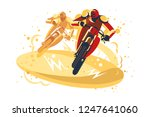 motocross riders taking part in ... | Shutterstock .eps vector #1247641060