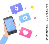 social media concept. hand with ...   Shutterstock .eps vector #1247658796