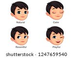 boy with different facial... | Shutterstock .eps vector #1247659540