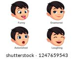 boy with different facial... | Shutterstock .eps vector #1247659543