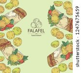 background with falafel in pita ... | Shutterstock .eps vector #1247675659