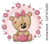 greeting card cute cartoon... | Shutterstock .eps vector #1247676283