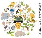 safari drive trip set. cute...   Shutterstock .eps vector #1247681629