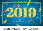 happy new year 2019  gold...   Shutterstock .eps vector #1247691823