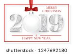 happy new year 2019  silver...   Shutterstock .eps vector #1247692180