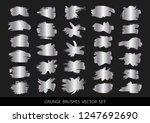 set of silver paint  ink brush... | Shutterstock .eps vector #1247692690