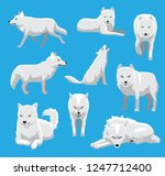 white wolf arctic fox cartoon... | Shutterstock .eps vector #1247712400
