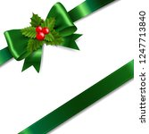 green bow with holly berry... | Shutterstock .eps vector #1247713840