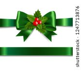 green ribbon bow with holly... | Shutterstock .eps vector #1247713876