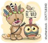 cute cartoon tribal teddy bear... | Shutterstock .eps vector #1247718340