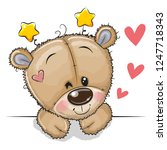 cute drawing teddy bear on a... | Shutterstock .eps vector #1247718343