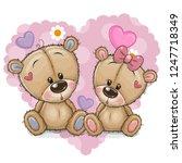 two cute cartoon bears on a... | Shutterstock .eps vector #1247718349