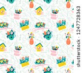 seamless spring pattern with... | Shutterstock .eps vector #1247728363