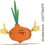 funny happy cute onion. vector... | Shutterstock .eps vector #1247736379