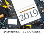2019 new year resolutions... | Shutterstock . vector #1247748556