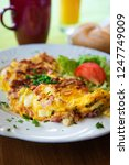 omelet with ham tomato and...   Shutterstock . vector #1247749009