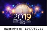 happy hew 2019 year  clock ... | Shutterstock .eps vector #1247753266