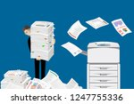 businessman in pile of papers.... | Shutterstock .eps vector #1247755336