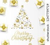 merry christmas golden greeting ... | Shutterstock .eps vector #1247759719