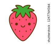 vector cartoon cute strawberry... | Shutterstock .eps vector #1247764366