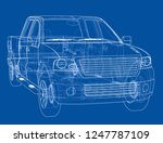 car suv drawing outline or... | Shutterstock . vector #1247787109