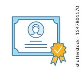 certificate color icon. diploma.... | Shutterstock .eps vector #1247801170