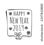 happy new year 2019. handdrawn... | Shutterstock .eps vector #1247810800