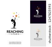 reaching stars logo design...   Shutterstock .eps vector #1247825593