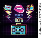 radio with icons of eighties... | Shutterstock .eps vector #1247833306