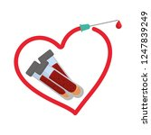 tube test blood with needle and ... | Shutterstock .eps vector #1247839249