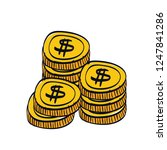 coins cash money isolated icon | Shutterstock .eps vector #1247841286