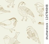 bird hand drawn seamless pattern   Shutterstock .eps vector #124784848