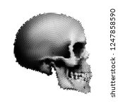 abstract human skull with... | Shutterstock .eps vector #1247858590