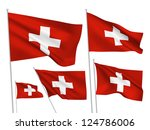 switzerland vector flags set. 5 ... | Shutterstock .eps vector #124786006