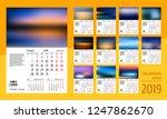 template calendar grid 2019 for ... | Shutterstock .eps vector #1247862670