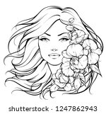 beautiful girl with flowers.... | Shutterstock .eps vector #1247862943