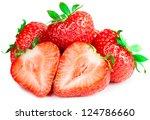 ripe red strawberries on white... | Shutterstock . vector #124786660